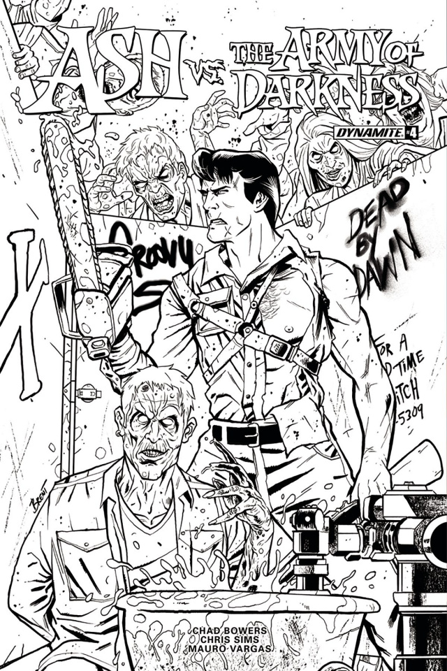 Ash vs. The Army of Darkness #4 (20 Copy Schoonover B&W Cover)