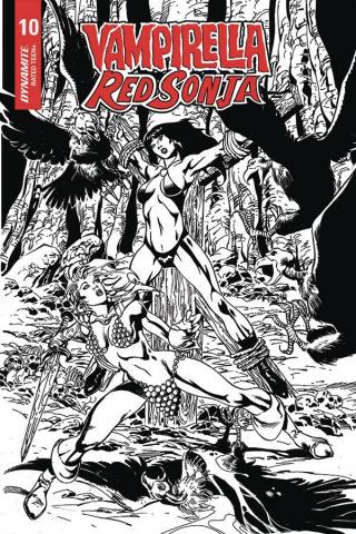 Vampirella / Red Sonja #10 (7 Copy Castro B&W Cover)