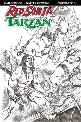 Red Sonja / Tarzan #1 (20 Copy Davila B&W Cover)