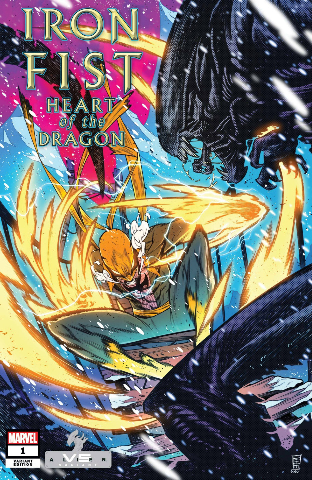 Iron Fist: Heart of the Dragon #1 (Jacinto Marvel vs. Alien Cover)
