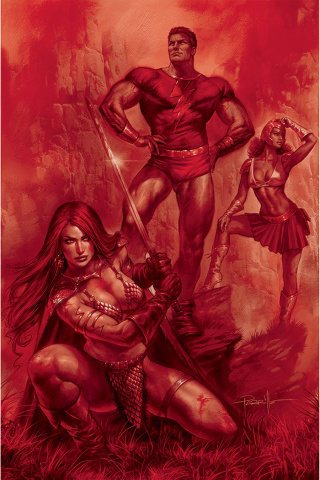 Red Sonja: The Superpowers #1 (Parrillo Crimson Red Art Virgin Cover)