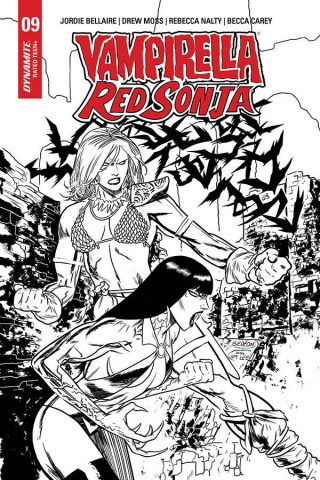 Vampirella / Red Sonja #9 (15 Copy Gedeon B&W Homage Cover)
