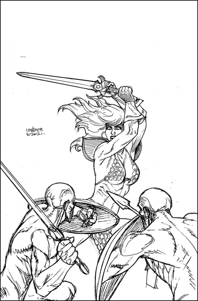 The Invincible Red Sonja #2 (50 Copy Linsner Line Art Virgin Cover)