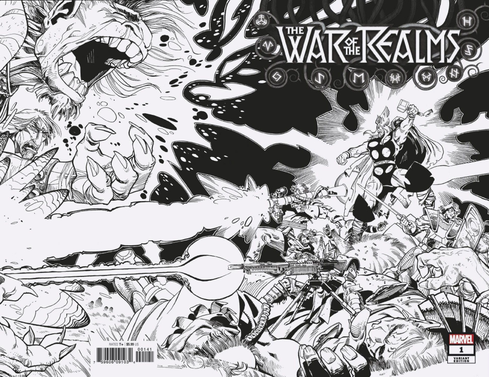 The War of the Realms #1 (Simonson Hidden Gem B&W Cover)
