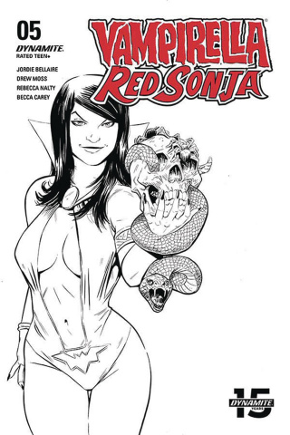 Vampirella / Red Sonja #5 (10 Copy Moss B&W Cover)