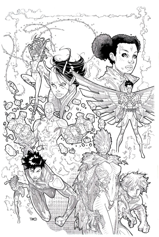 Teen Titans #16 (Adult Coloring Book Cover)