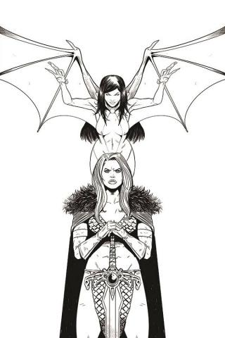Vampirella / Red Sonja #11 (11 Copy Moss B&W Virgin Cover)