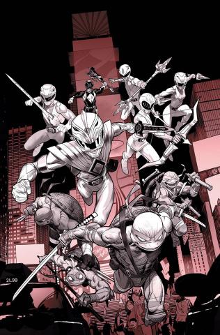 Power Rangers / Teenage Mutant Ninja Turtles #1 (Unlock B&W Cover)