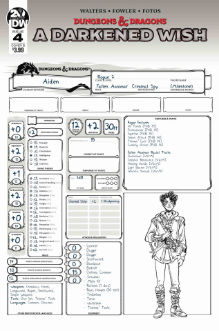 Dungeons & Dragons: A Darkened Wish #4 (Character Sheet Cover)
