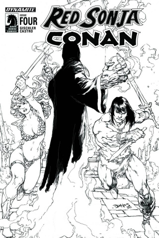 Red Sonja / Conan #4 (15 Copy Benes B&W Cover)