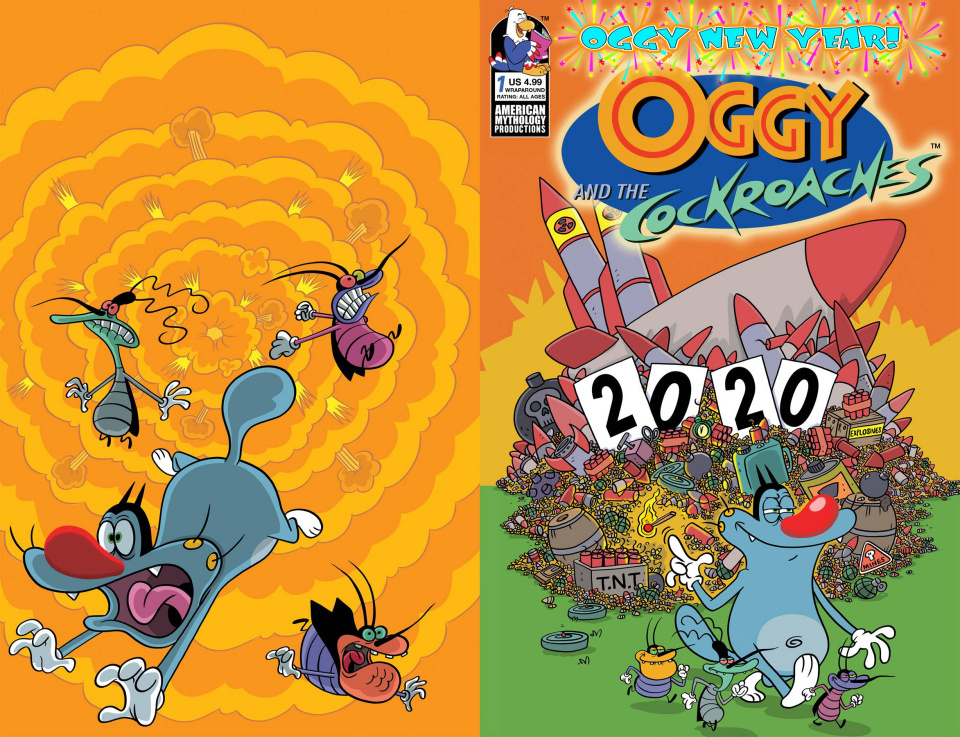 Oggy and the Cockroaches: Oggy New Year! #1 (Rankine Wrap Cover)