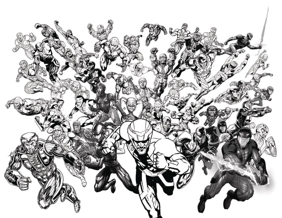 X-O Manowar #50 (50 Copy B&W All-Star Jam Cover)