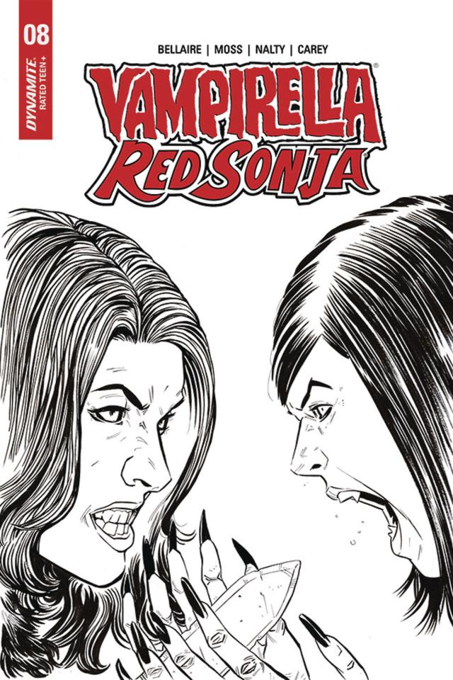 Vampirella / Red Sonja #8 (10 Copy Moss B&W Cover)