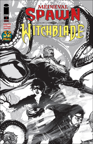 Medieval Spawn and Witchblade #4 (Haberlin B&W Cover)