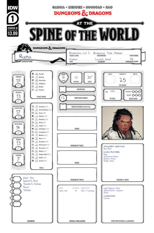 Dungeons & Dragons: At the Spine of the World #1 (Character Sheet Cover)