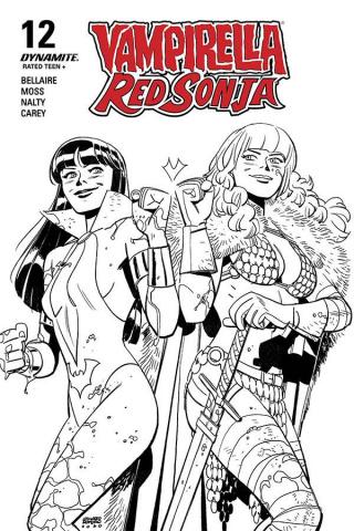 Vampirella / Red Sonja #12 (40 Copy Romero & Bellaire B&W Cover)