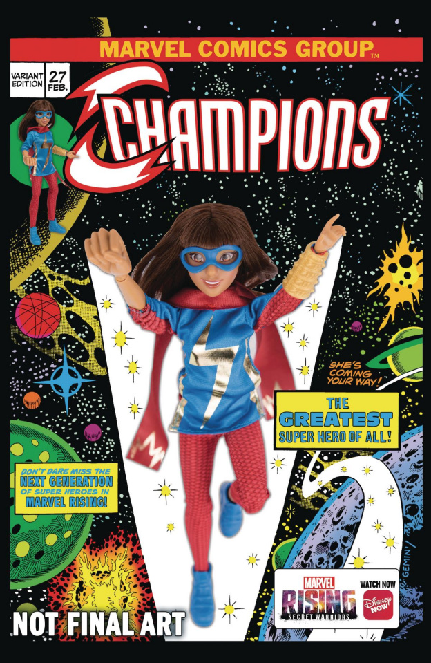 Champions #27 (Marvel Rising Action Doll Homage Cover)