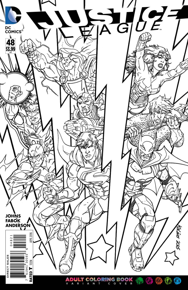 Justice League #48 (Adult Coloring Book Cover)