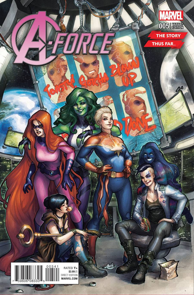 A-Force #5 (Hetrick Story Thus Far Cover)