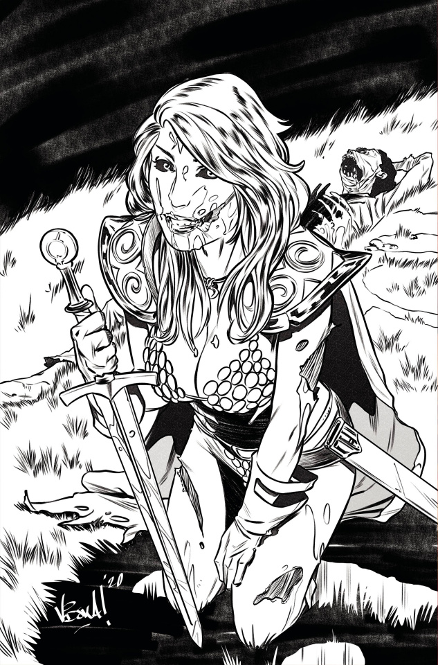 Red Sonja: The Superpowers #1 (7 Copy Federici Zombie B&W Virgin Cover)