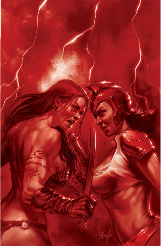 Red Sonja: The Superpowers #2 (Parrillo Crimson Red Art Virgin Cover)