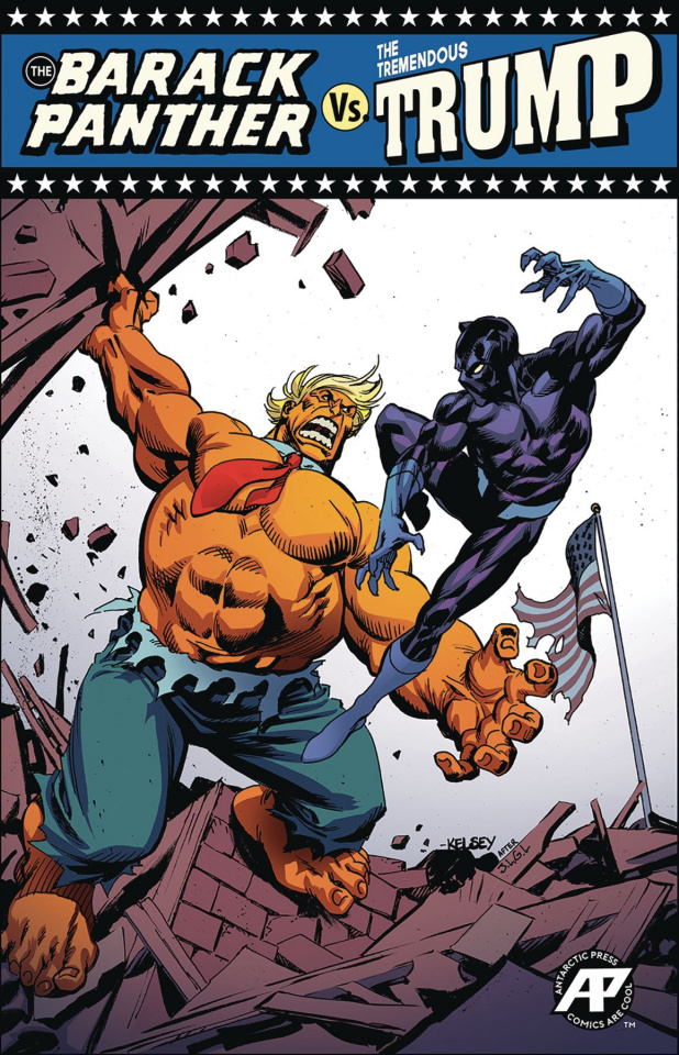 Barack Panther vs. The Tremendous Trump #1 (Blue Victory Cover)