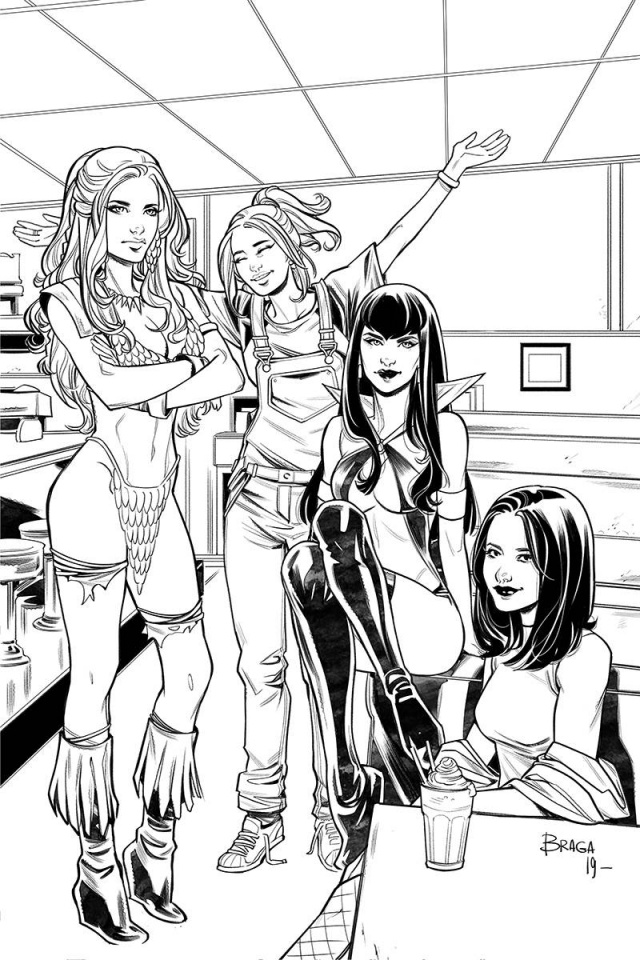 Red Sonja and Vampirella Meet Betty and Veronica #11 (7 Copy Braga B&W Virgin Cover)