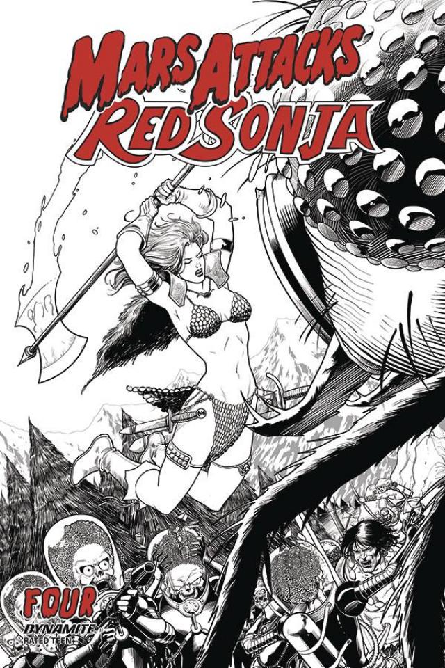 Mars Attacks / Red Sonja #4 (10 Copy Kitson B&W Cover)