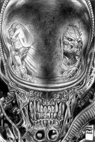 Predator vs. Judge Dredd vs. Aliens #2 (Fabry Pencils Cover)