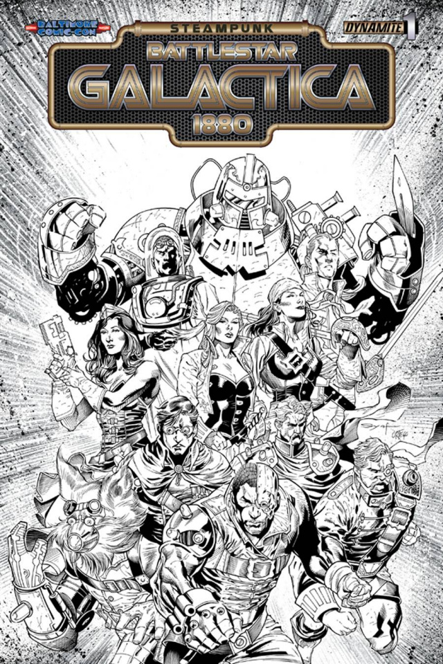 Steampunk Battlestar Galactica: 1880 #1 (Baltimore Syaf B&W Cover)