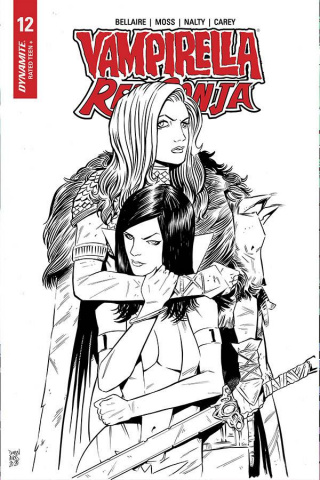 Vampirella / Red Sonja #12 (10 Copy Moss B&W Cover)