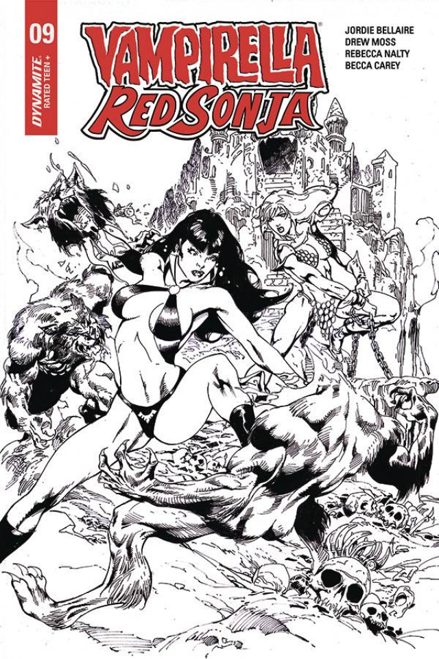 Vampirella / Red Sonja #9 (7 Copy Castro B&W Cover)