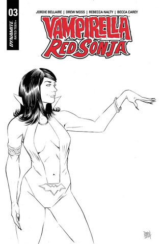 Vampirella / Red Sonja #3 (10 Copy Moss B&W Cover)