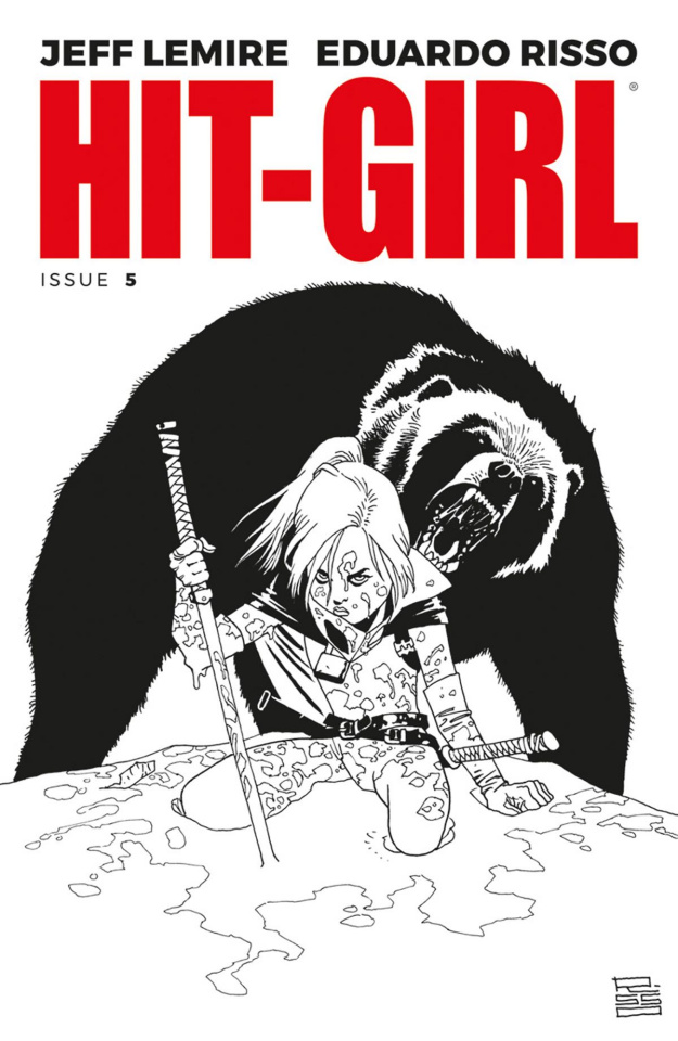 Hit-Girl #5 (B&W Risso Cover)