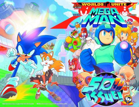 Mega Man #50 (Spaz Wraparound Cover)
