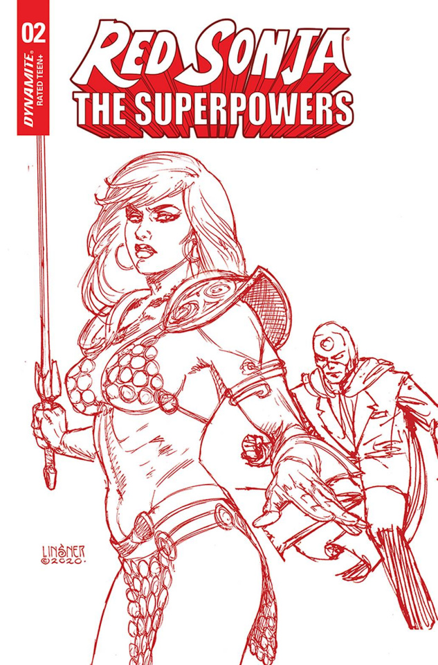 Red Sonja: The Superpowers #2 (Linsner Crimson Red Art Cover)