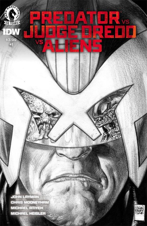 Predator vs. Judge Dredd vs. Aliens #1 (Fabry Pencils Cover)