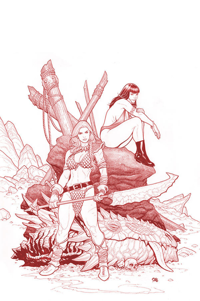 Vampirella / Red Sonja #3 (Ultra Limited Cho Fiery Red Lineart Cover)