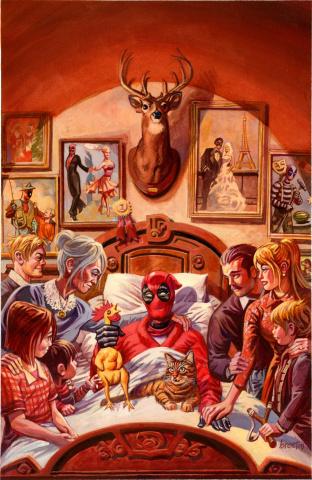 Deadpool #15 (Brereton Death of X Cover)