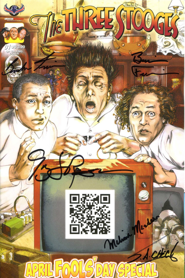 The Three Stooges: April Fools' Day (Quadruple Signed Cover)