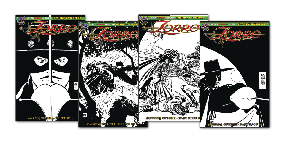 Zorro: Swords of Hell #1-4 (Toth Art Set)