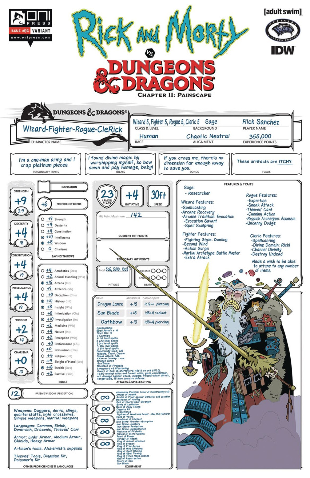 Rick and Morty vs. Dungeons & Dragons II: Painscape #4 (Character Sheet)
