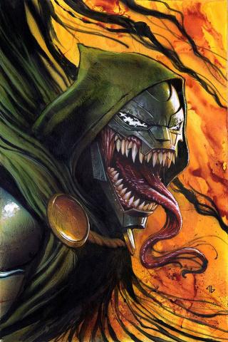 Invincible Iron Man #11 (Venomized Dr. Doom Cover)