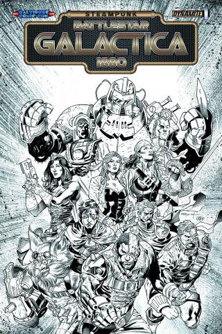 Steampunk Battlestar Galactica: 1880 #1 (Baltimore Comic Con B&W Cover)