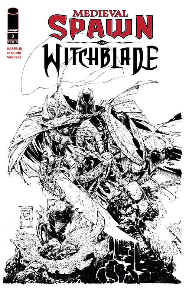 Medieval Spawn and Witchblade #2 (B&W Capullo Cover)