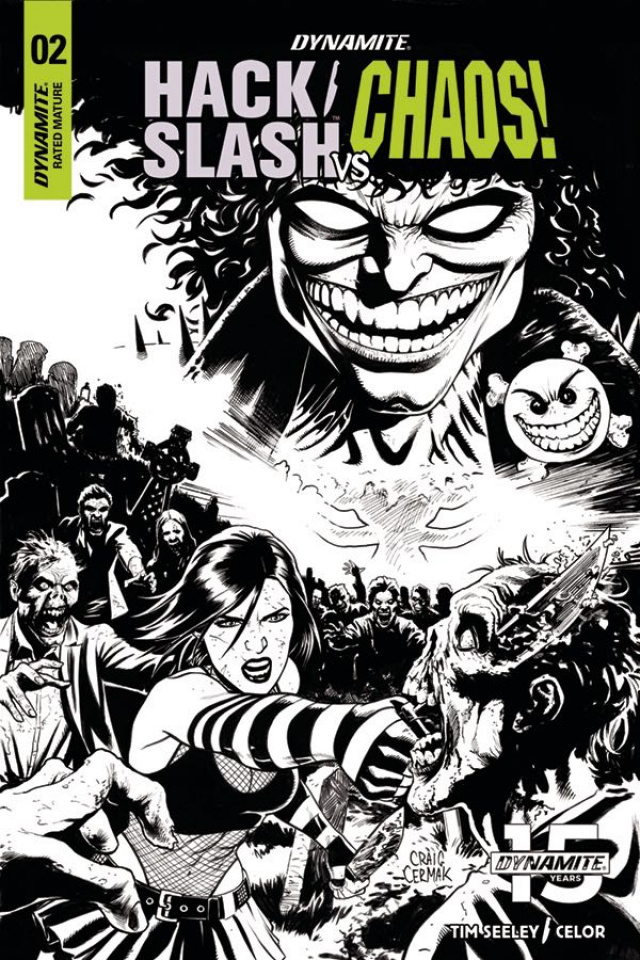 Hack/Slash vs. Chaos! #2 (10 Copy Cermak B&W Cover)