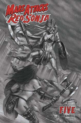 Mars Attacks / Red Sonja #5 (7 Copy Strati B&W Cover)