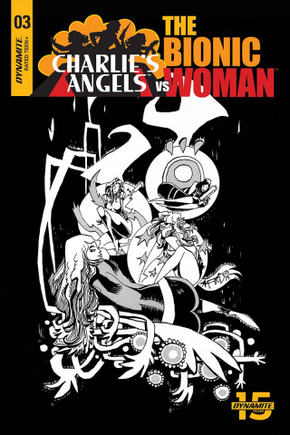 Charlie's Angels vs. The Bionic Woman #3 (10 Copy Mahfood B&W Cover)