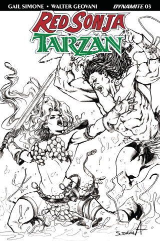 Red Sonja / Tarzan #3 (20 Copy Davila B&W Cover)