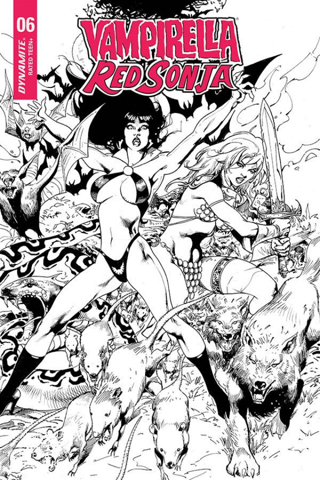 Vampirella / Red Sonja #6 (7 Copy Castro B&W Cover)